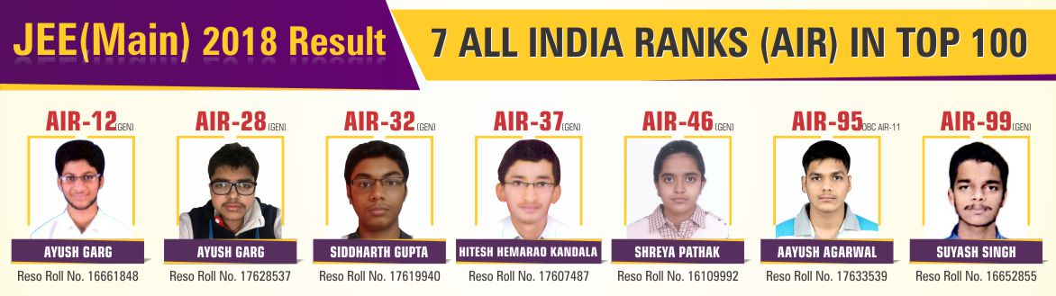 JEE (Main) 2018 Result AIR Top 100